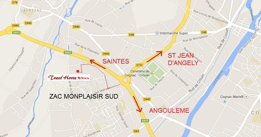 Plan d'accès Tracthorse à Cognac